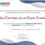 Reconoce USAID a Policía Municipal en San Cristóbal de Las Casas